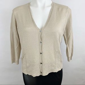Eileen Fisher Sweater Cardigan Short Sleeve Linen